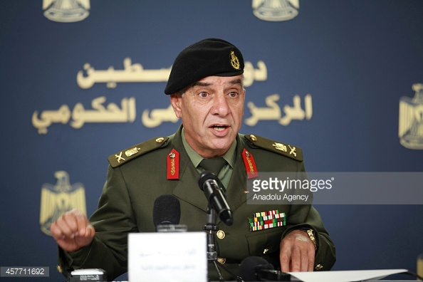 RAMALLAH, WEST BANK - OCTOBER 23: Palestinian security forces spokesman Major General Adnan al-Damiri speaks during a press conference in Ramallah, West Bank on October 23, 2014. (Photo by Issam Rimawi/Anadolu Agency/Getty Images)