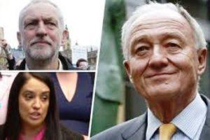 """AFP """"Jeremy Corbyn (en haut à gauche), Naz Shah (en bas à gauche) et Ken Livingstone (à droite)"""""""
